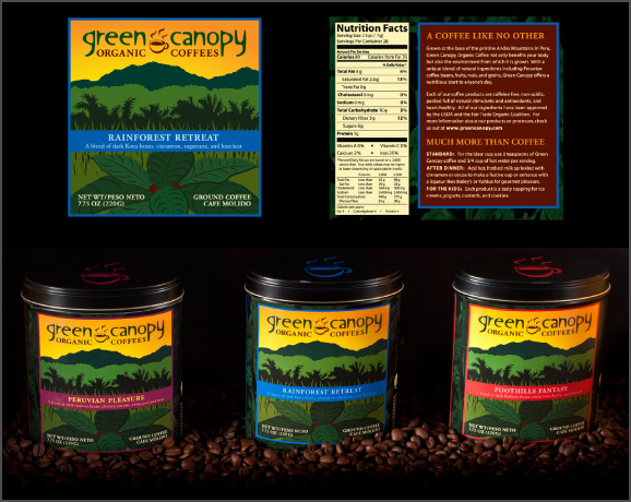 Green Canopy organic coffees logo and packaging design