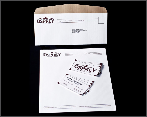Osprey Packs, Inc. rebranded business identity system
